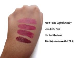sugar plum fairy, hidef plum, bauhau5, kiko 06 http://pandagirlsblog.com/2014/10/04/new-in-kat-von-d-everlasting-liquid-lipstic labial