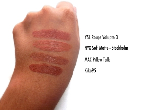 ysl rouge volupte 3, nyx soft matte stockholm, mac pillow talk, kiko 95 labiales favoritos de otoño